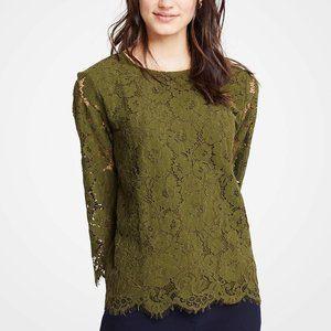 *NWOT* Ann Taylor Petite Green Lace Blouse
